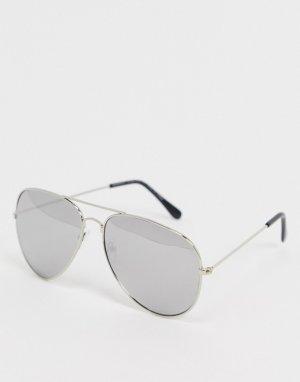 Серебристые солнцезащитные очки-авиаторы -Серебряный SVNX