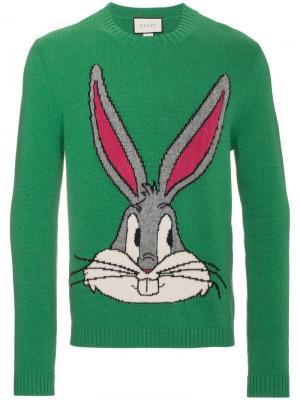 Трикотажный джемпер Bugs Bunny Guccy Gucci. Цвет: зеленый