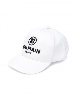 Кепка с вышитым логотипом Balmain Kids. Цвет: белый
