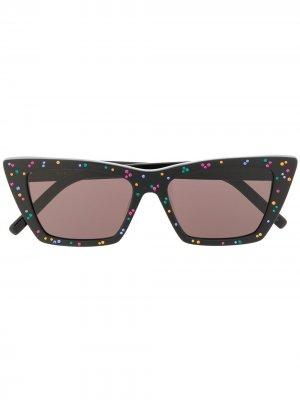 Солнцезащитные очки New Wave со стразами Saint Laurent Eyewear. Цвет: черный
