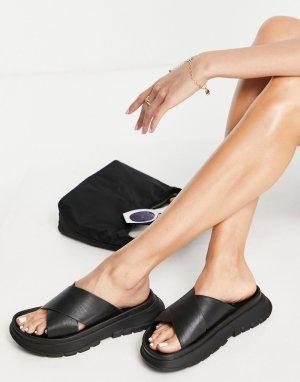 Черные мюли в спортивном стиле на плоской массивной подошве Fairplay-Черный цвет ASOS DESIGN