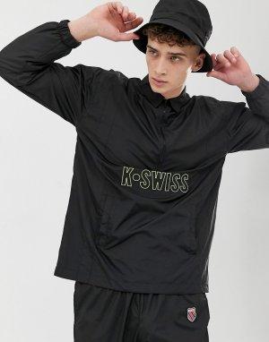 Черная спортивная куртка с короткой молнией -Черный K-Swiss