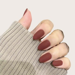 Накладные ногти 24шт SHEIN. Цвет: бургундия