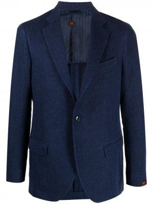 Однобортный пиджак из денима MP Massimo Piombo. Цвет: синий