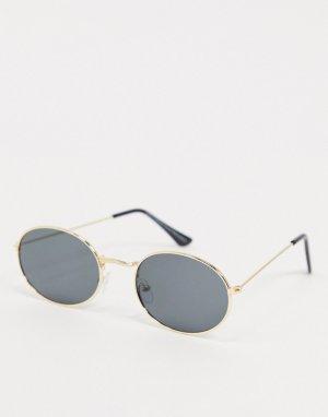 Круглые солнцезащитные очки с черными стеклами -Золотистый SVNX
