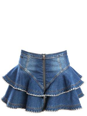 Джинсовая мини-юбка с оборками Philipp Plein. Цвет: разноцветный
