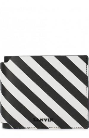 Кожаное портмоне с отделениями для кредитных карт Lanvin. Цвет: черно-белый
