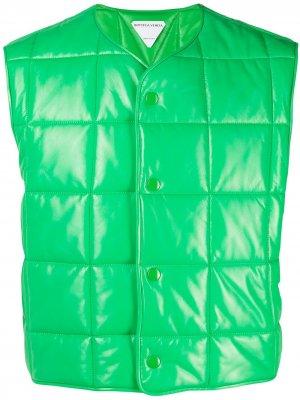 Стеганая куртка без рукавов Bottega Veneta. Цвет: зеленый