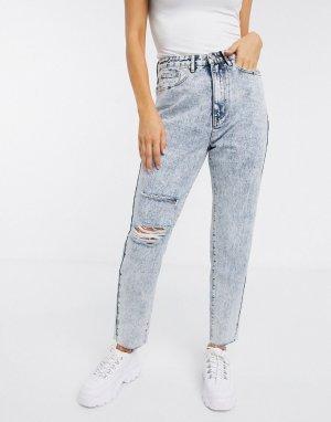 Джинсы в винтажном стиле с рваной отделкой -Синий Missguided