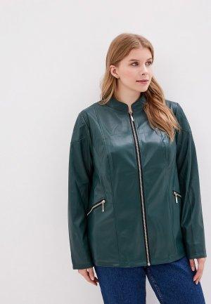 Куртка кожаная JP. Цвет: зеленый