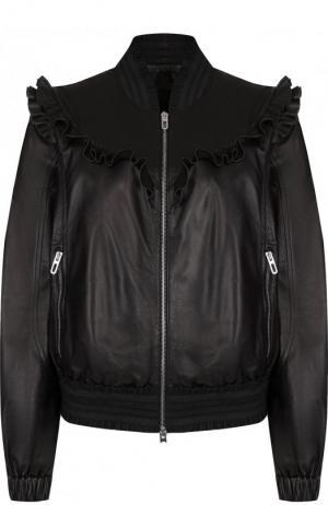 Однотонная кожаная куртка на молнии DROMe. Цвет: черный