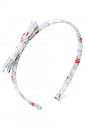 Белый ободок с цветочным принтом Bonpoint. Цвет: multicolor