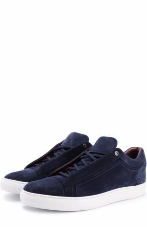 Замшевые кеды на шнуровке Brioni. Цвет: синий