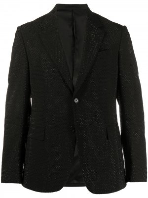 Однобортный пиджак с кристаллами Versace. Цвет: черный