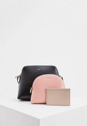 Комплект Furla BOHEME, сумка, косметичка, визитница. Цвет: разноцветный