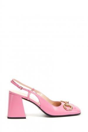 Розовые кожаные слингбэки Gucci. Цвет: розовый