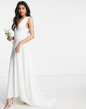 Белое свадебное платье макси с пуговицами и шлейфом -Белый Y.A.S