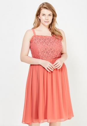 Сарафан LOST INK PLUS CAMI DRESS WITH LACE TOP. Цвет: коралловый