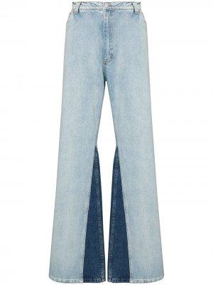 Широкие джинсы с контрастными вставками Natasha Zinko. Цвет: синий