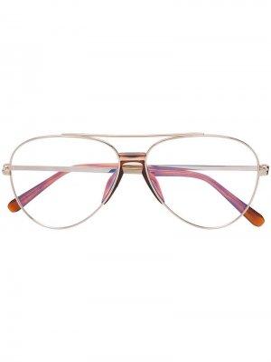 Солнцезащитные очки-авиаторы Brioni. Цвет: золотистый