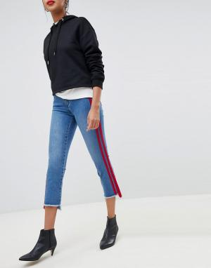 Прямые укороченные джинсы с полосками -Синий Only