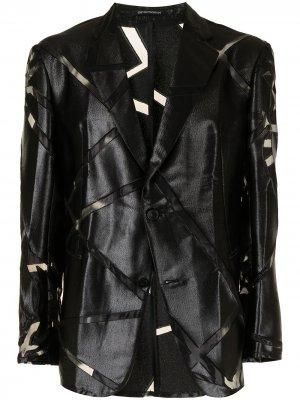 Пиджак из искусственной кожи с прозрачными вставками Emporio Armani. Цвет: черный