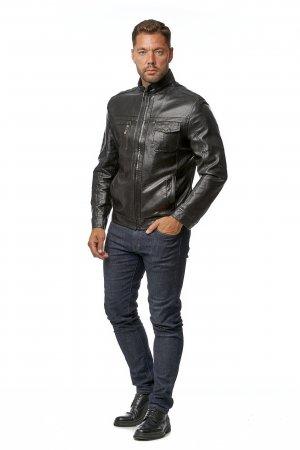 Мужская кожаная куртка из эко-кожи с воротником МОСМЕХА