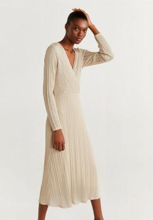 Платье Mango - LUREX. Цвет: бежевый