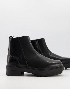 Ботинки челси на массивной подошве без застежки с металлическим носком -Черный цвет ASOS DESIGN