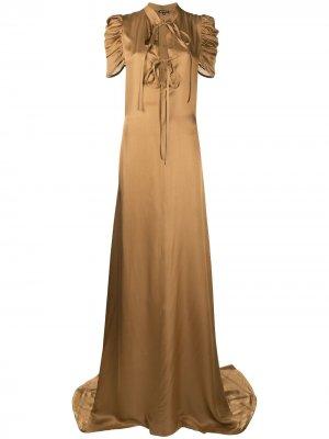 Платье с драпировкой Ann Demeulemeester. Цвет: золотистый