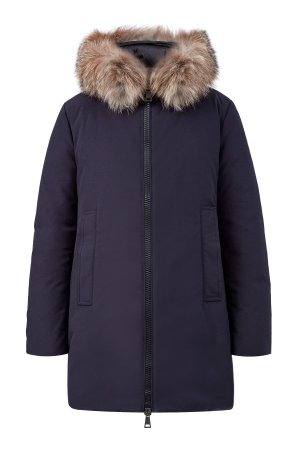 Парка с утеплителем из пуха и окантовкой мехом лисы Blue Frost MONCLER. Цвет: синий
