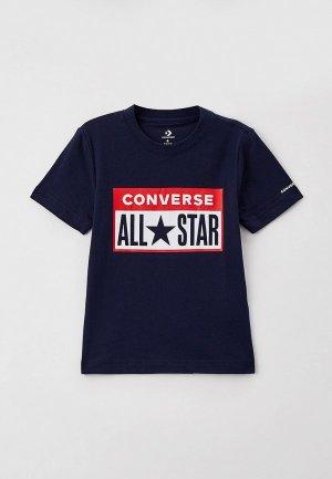 Футболка Converse. Цвет: синий