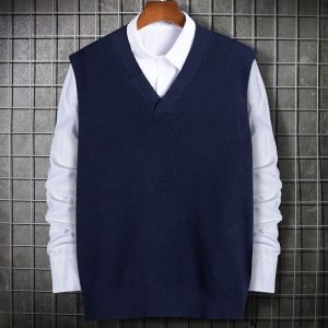 Мужской Вязаный жилет без блузки SHEIN. Цвет: темно-синий