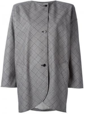 Пальто с принтом в клетку Emanuel Ungaro Pre-Owned. Цвет: черный