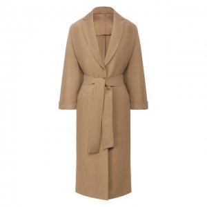 Пальто из смеси вискозы и льна Brunello Cucinelli. Цвет: бежевый