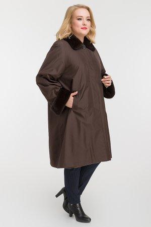 Пальто для больших размеров на кроличьей подстежке Garioldi. Цвет: коричневый