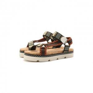 Текстильные сандалии Casadei. Цвет: разноцветный