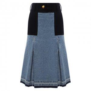Джинсовая юбка Sacai. Цвет: синий