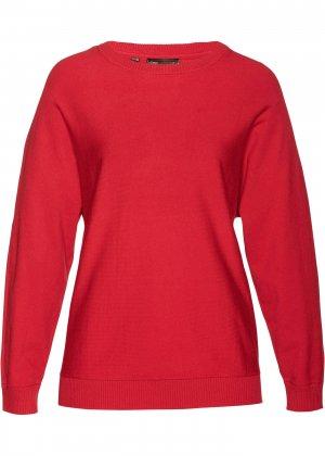 Пуловер с рукавом летучая мышь bonprix. Цвет: красный