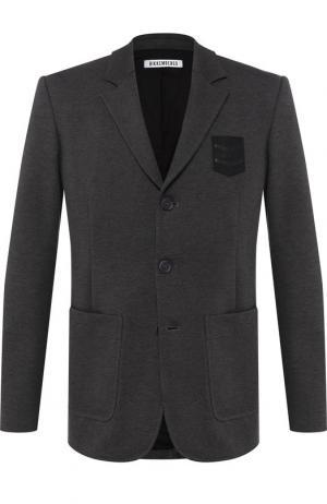 Однобортный пиджак из вискозы Dirk Bikkembergs. Цвет: серый