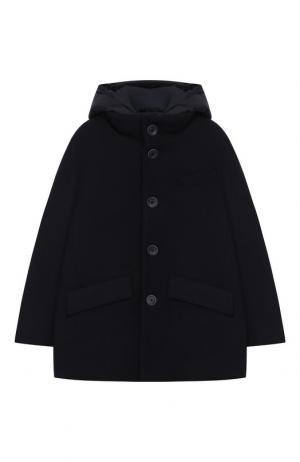 Комбинированная куртка с капюшоном Herno. Цвет: синий