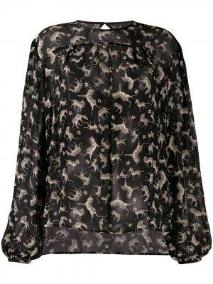 Блузка Aquila с зебровым принтом 8pm. Цвет: черный