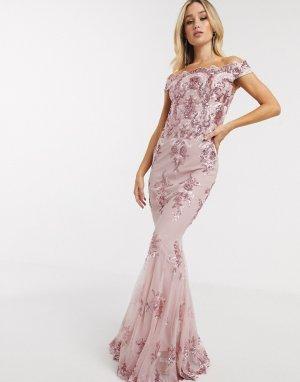 Розовое платье с открытыми плечами и пайетками -Розовый цвет Goddiva
