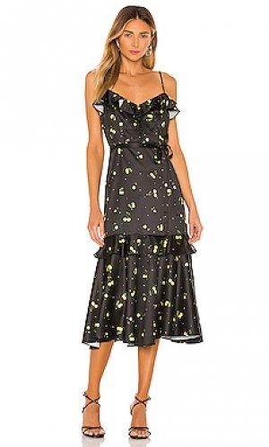 Платье миди cherry print MILLY. Цвет: черный
