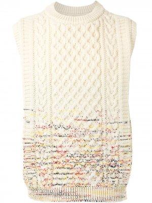 Жилет Gradation Aran фактурной вязки Coohem. Цвет: белый