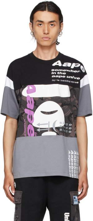 Black & Grey Camo Graphic T-Shirt AAPE by A Bathing Ape. Цвет: bkx black