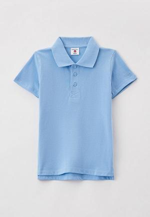 Поло Button Blue. Цвет: голубой