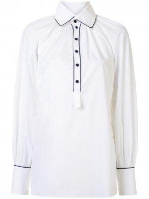 Поплиновая рубашка со сборками Dice Kayek. Цвет: белый