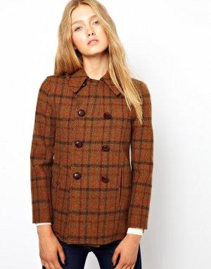 Твидовое пальто-бушлат Harris-Коричневый цвет Gloverall