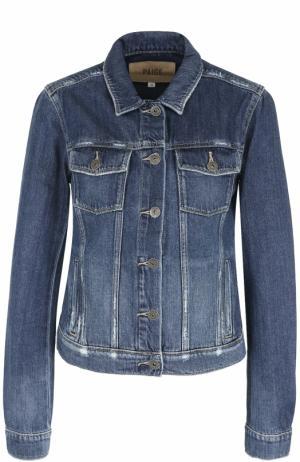 Джинсовая куртка с потертостями Paige. Цвет: синий